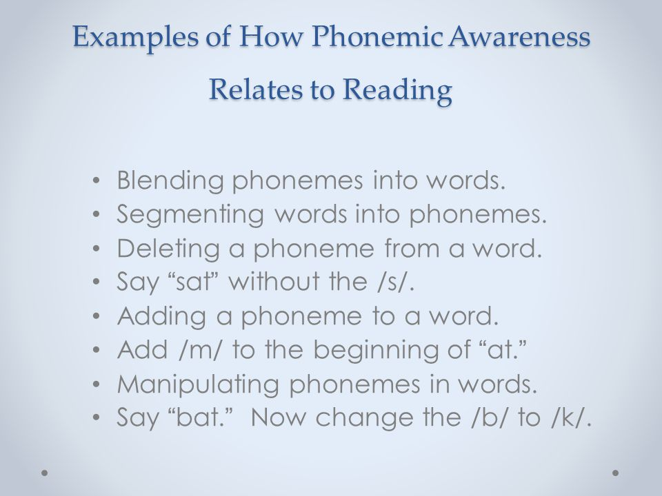 Examples of How Phonemic Awareness Relates to Reading