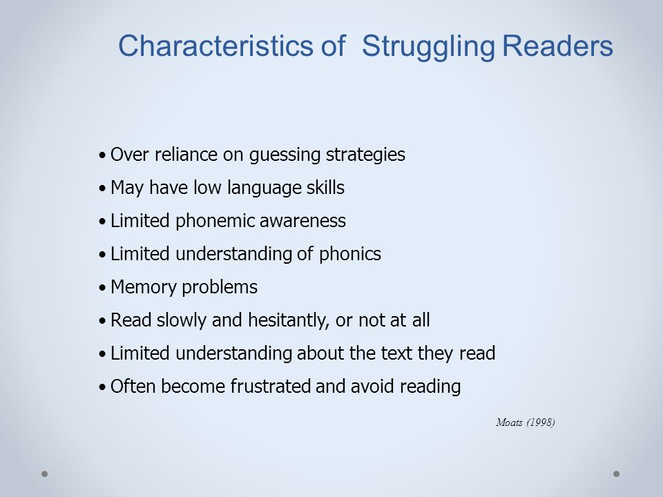 Characteristics of Struggling Readers