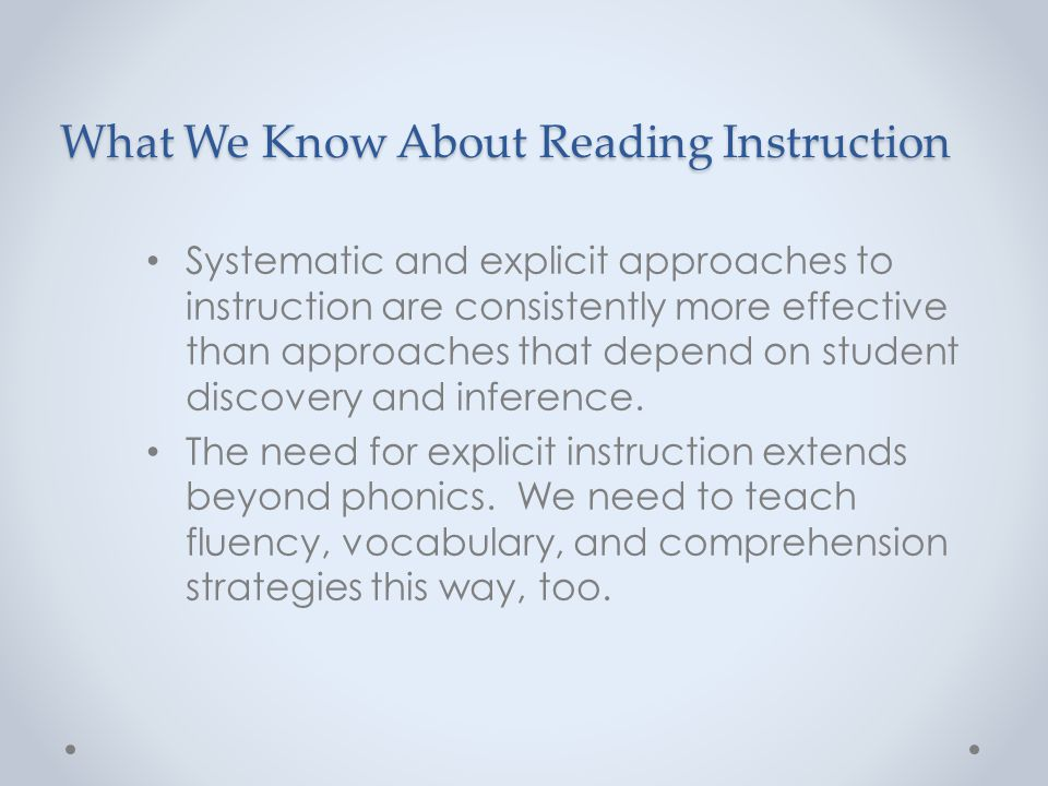 What We Know About Reading Instruction
