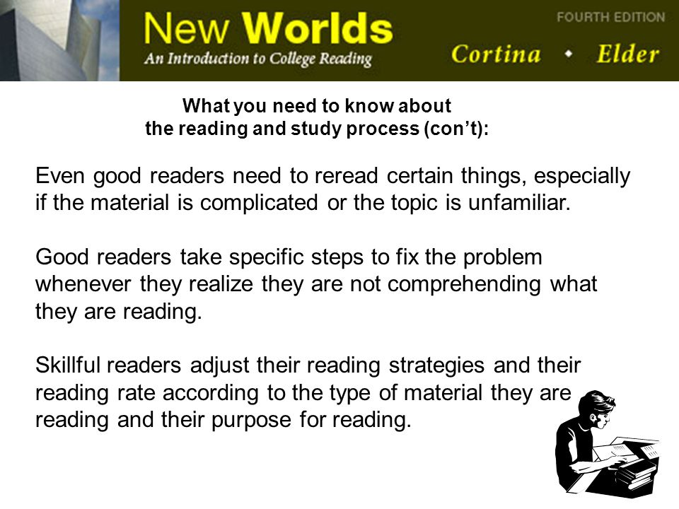 What you need to know about the reading and study process (con't):