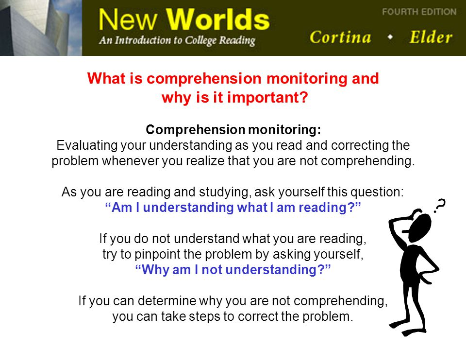What is comprehension monitoring and why is it important