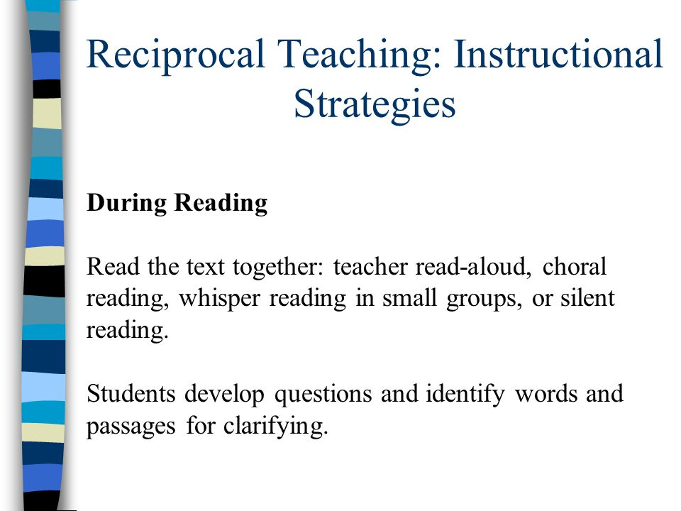 reciprocal teaching essay These include class discussion, reciprocal teaching and tutoring we can write a custom essay on  teaching strategy for 5th graders essay sample.