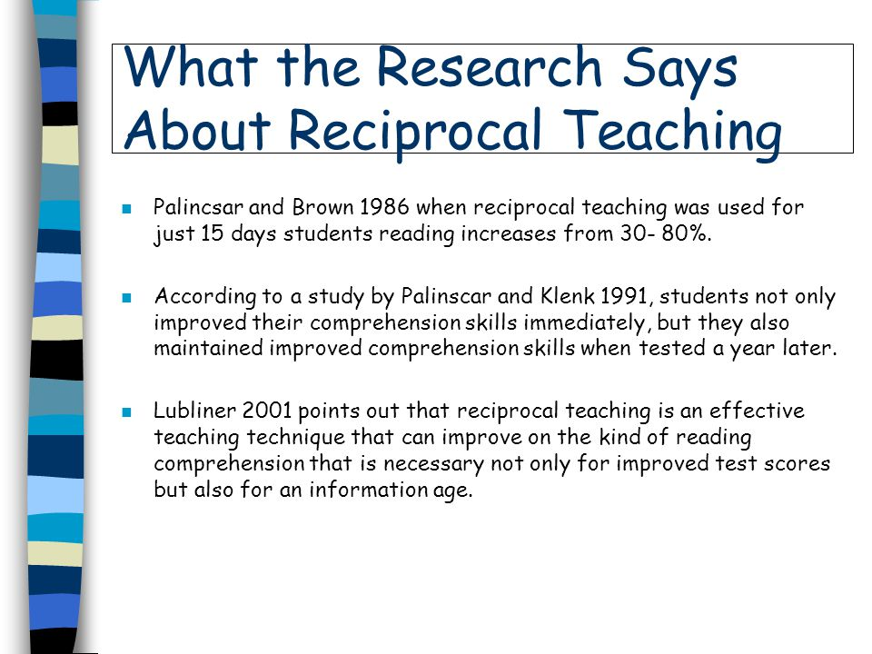 What the Research Says About Reciprocal Teaching
