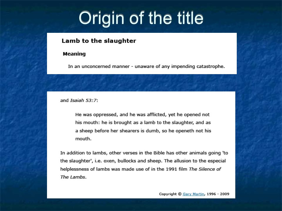 Origin of the title