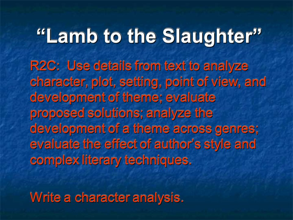 english literature lamb to the slaughter