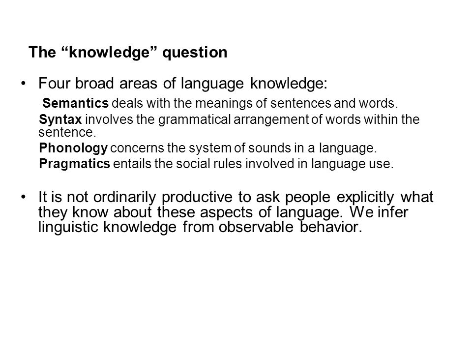 The knowledge question