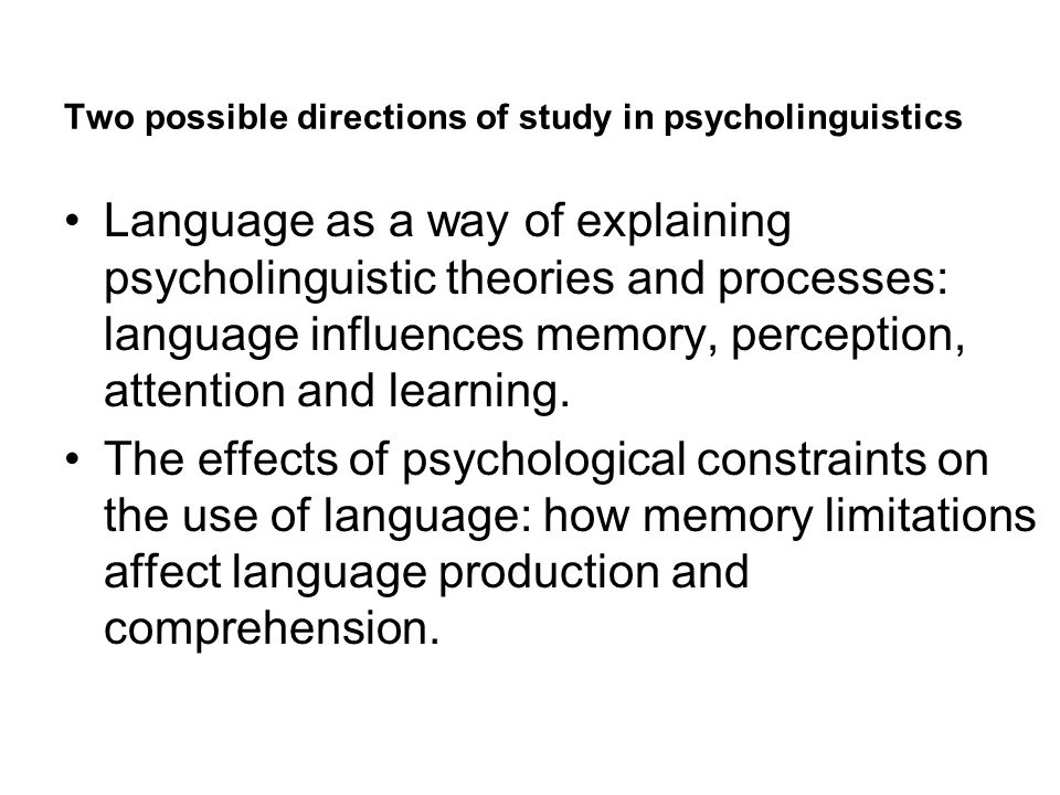 Two possible directions of study in psycholinguistics