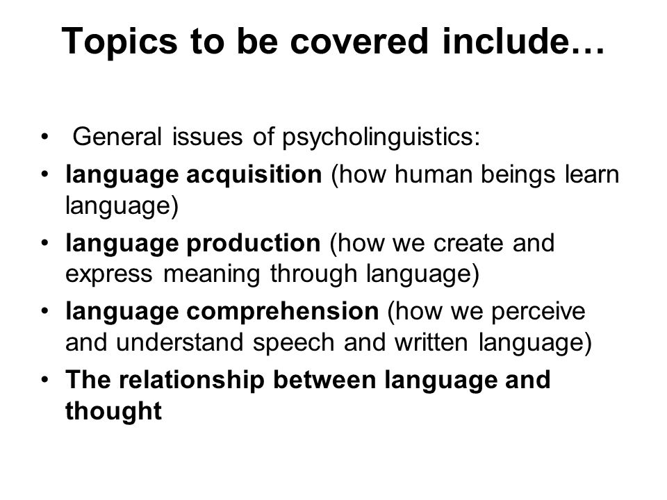 Topics to be covered include…