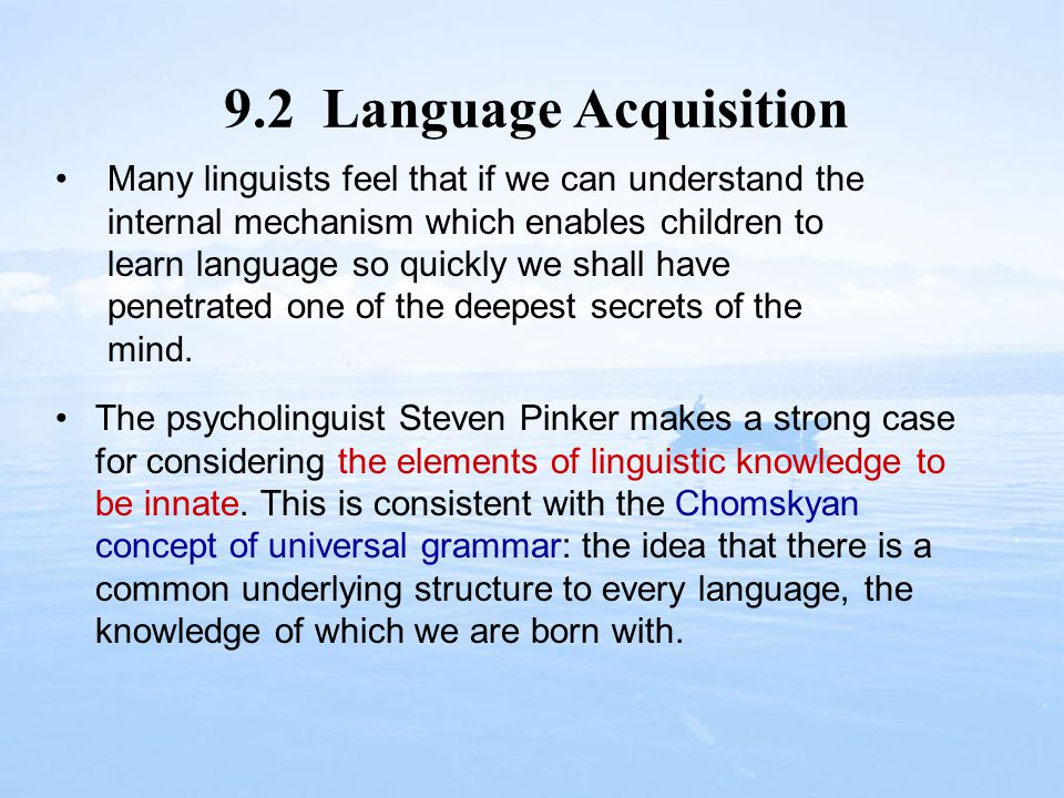 9.2 Language Acquisition