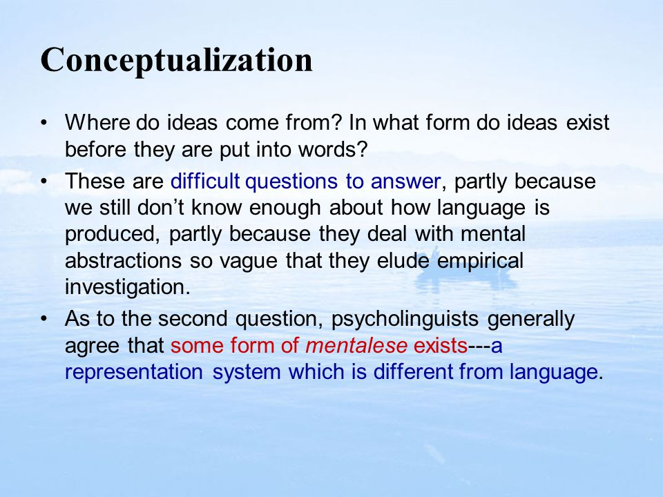 Conceptualization Where do ideas come from In what form do ideas exist before they are put into words