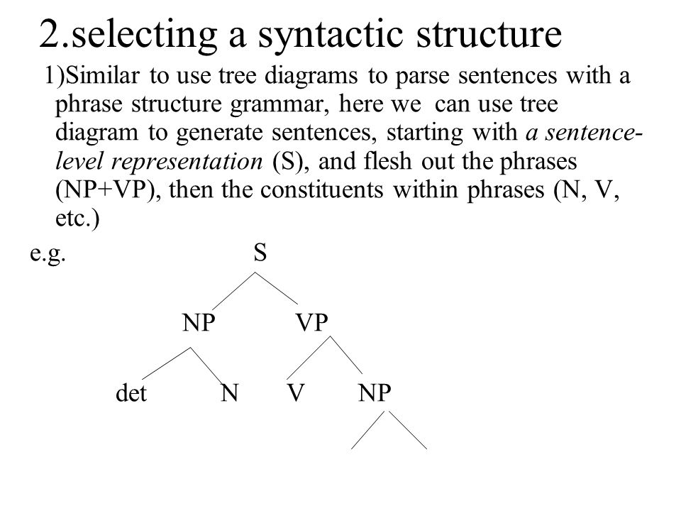 2.selecting a syntactic structure