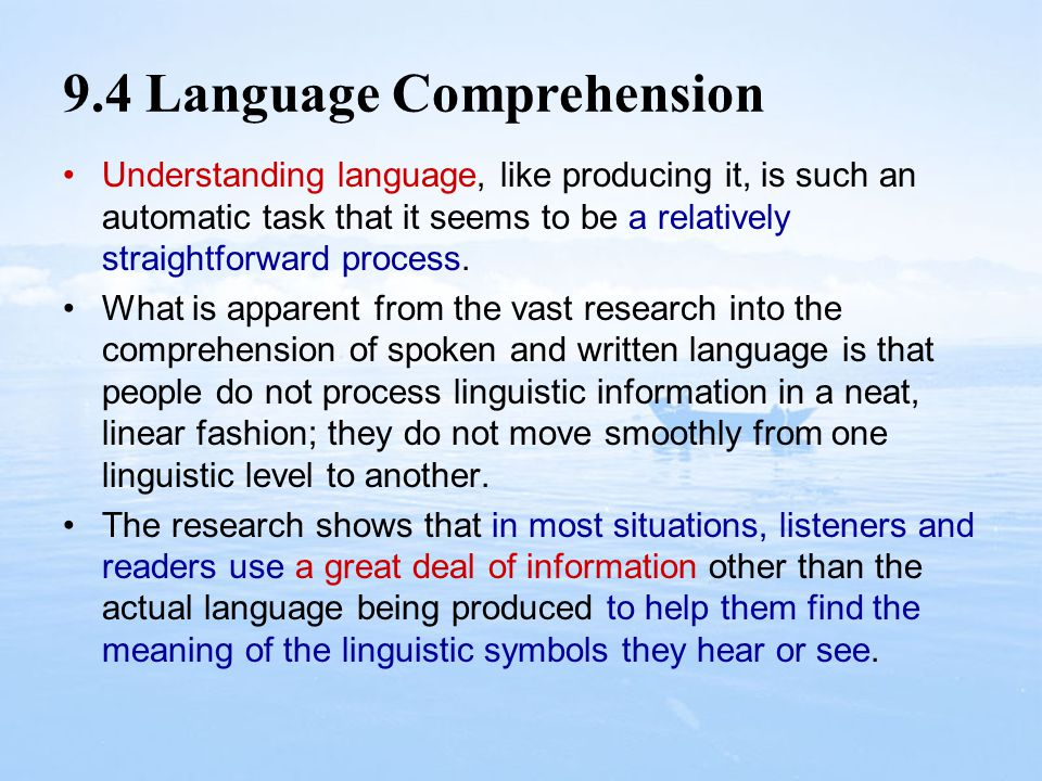 9.4 Language Comprehension