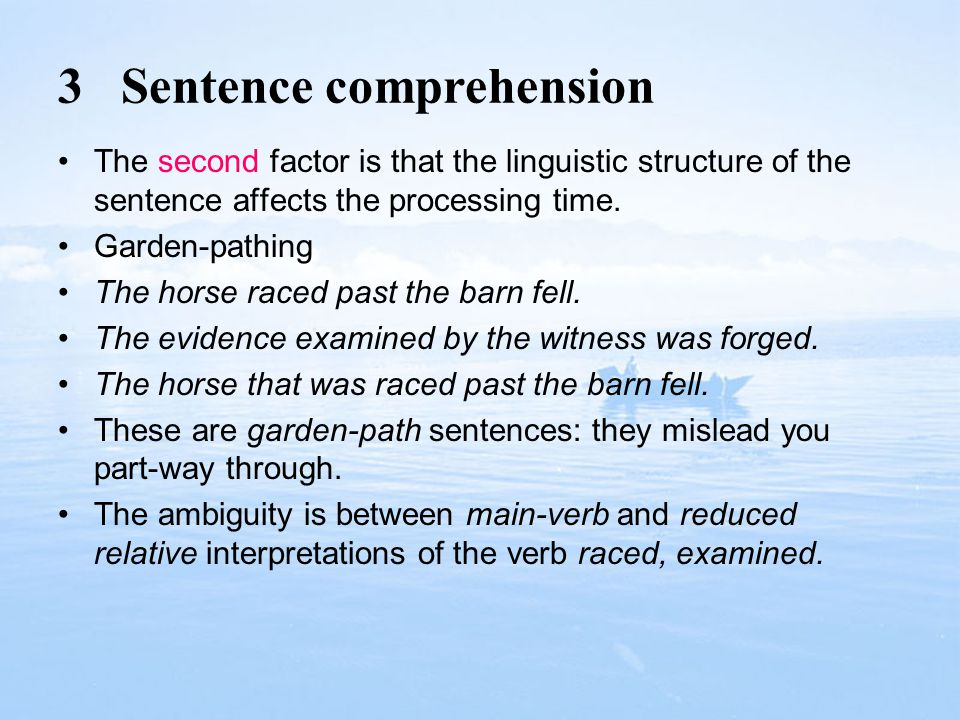 3 Sentence comprehension