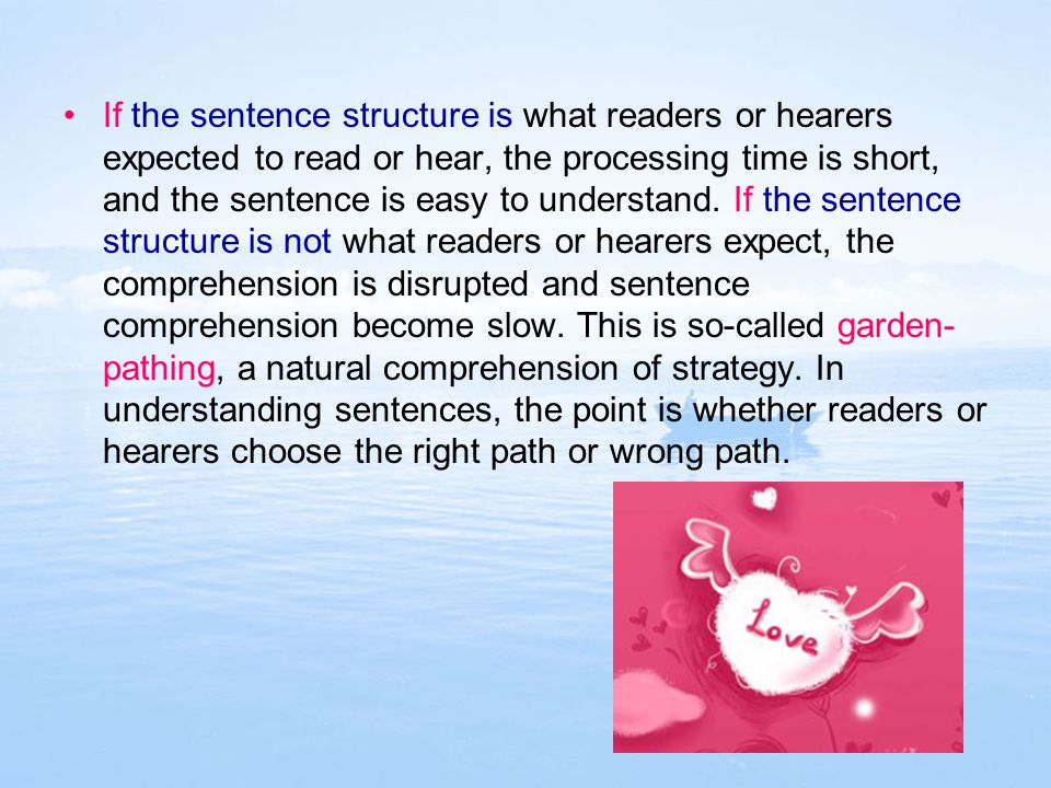 If the sentence structure is what readers or hearers expected to read or hear, the processing time is short, and the sentence is easy to understand.