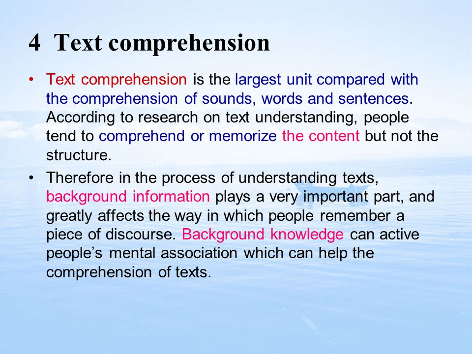 4 Text comprehension