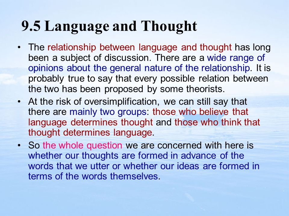 9.5 Language and Thought