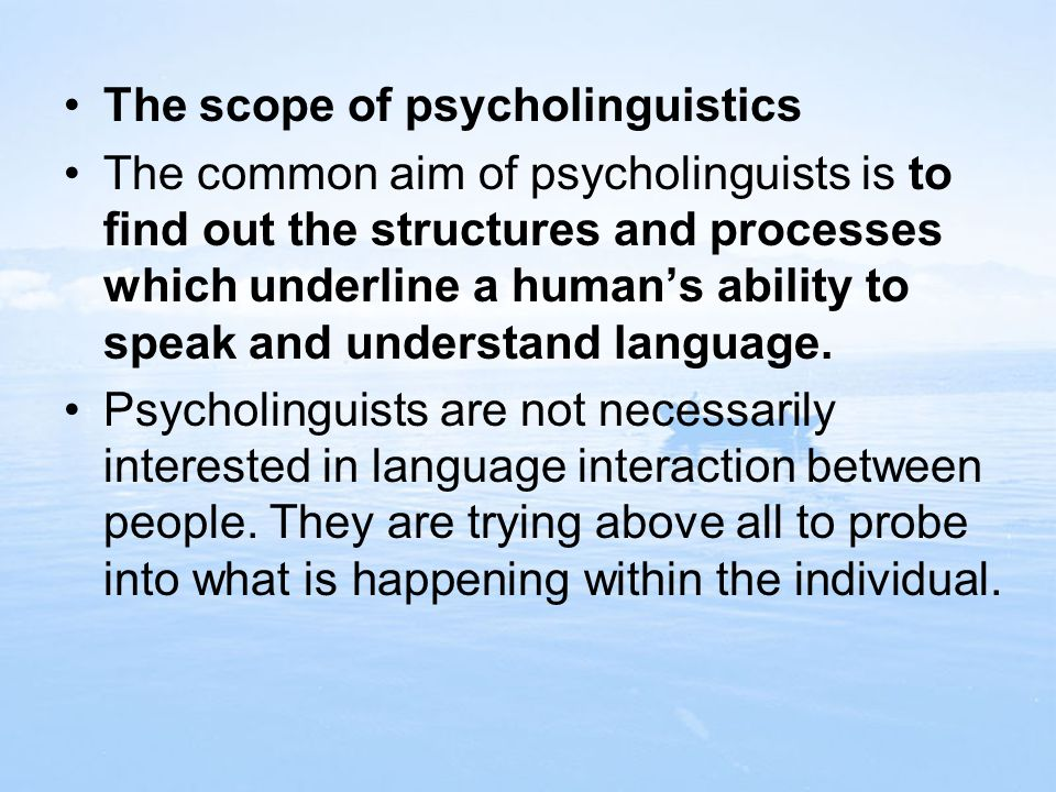 The scope of psycholinguistics
