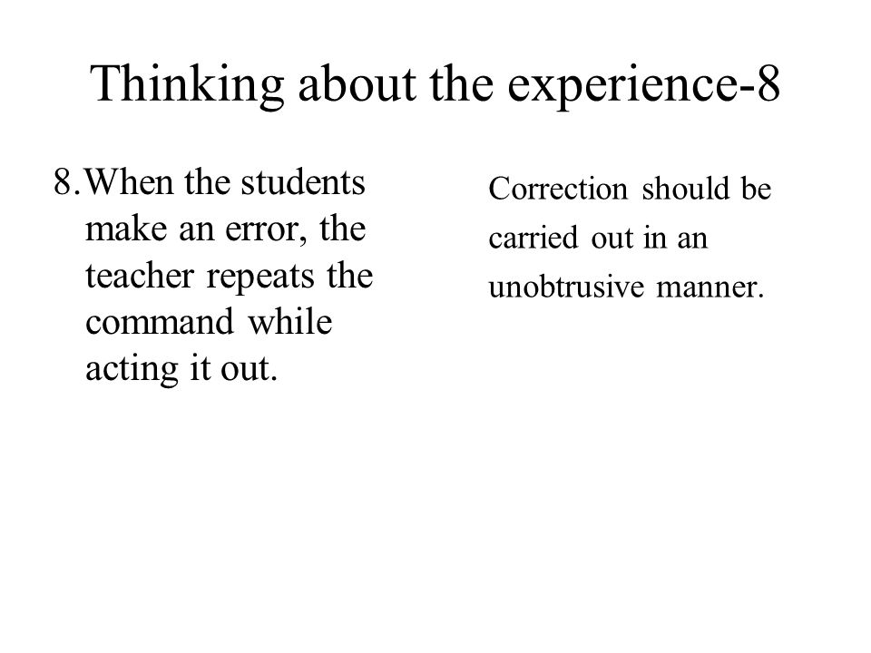 Thinking about the experience-8