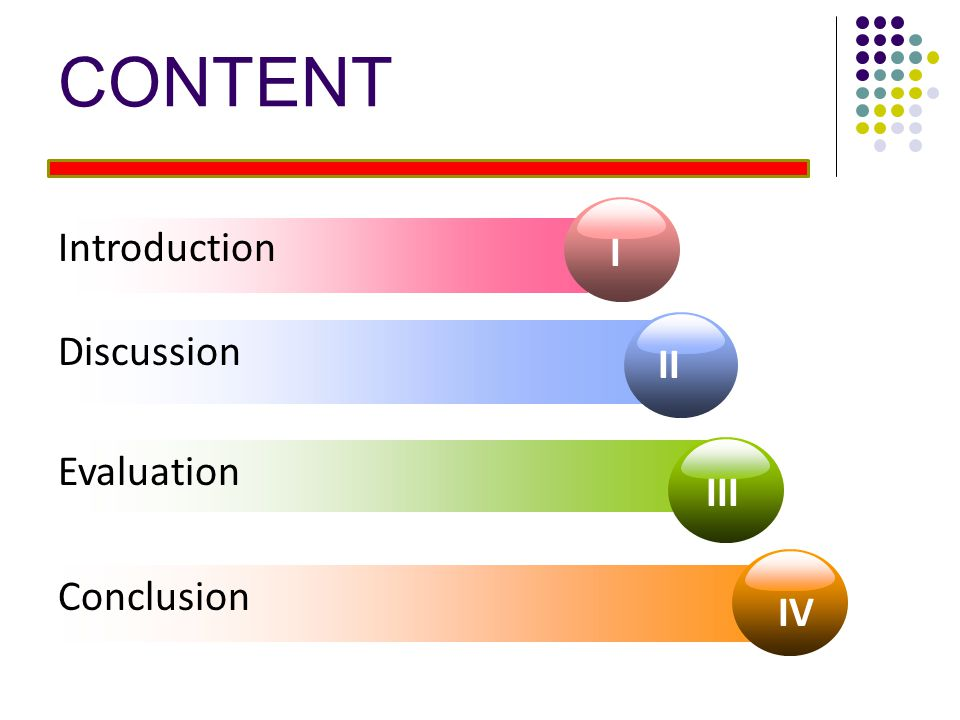 CONTENT Introduction I Discussion II Evaluation III Conclusion IV 2