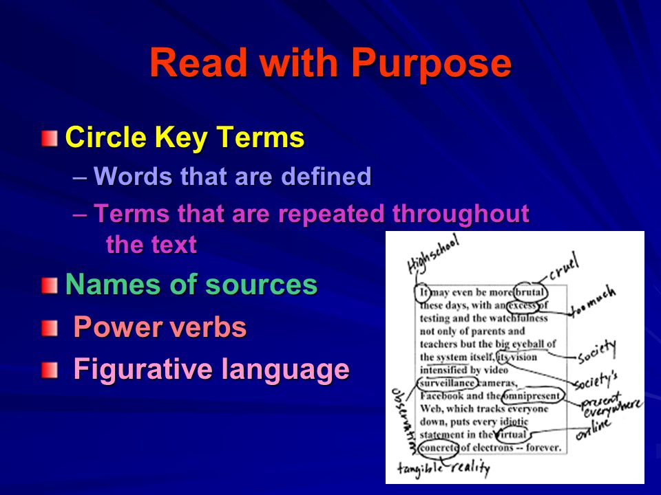 Read with Purpose Circle Key Terms Names of sources Power verbs