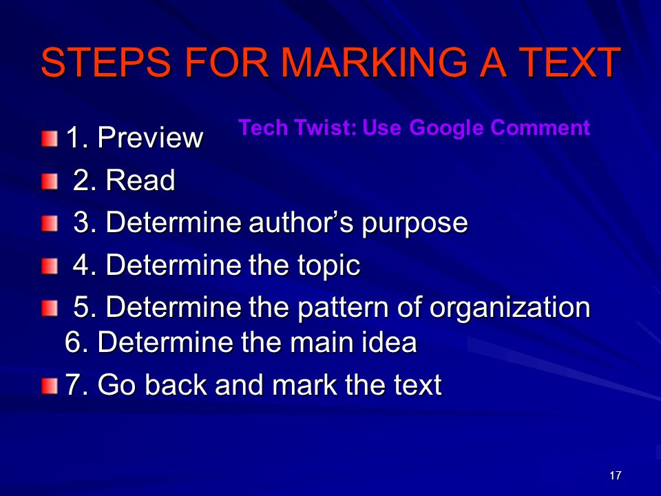 STEPS FOR MARKING A TEXT
