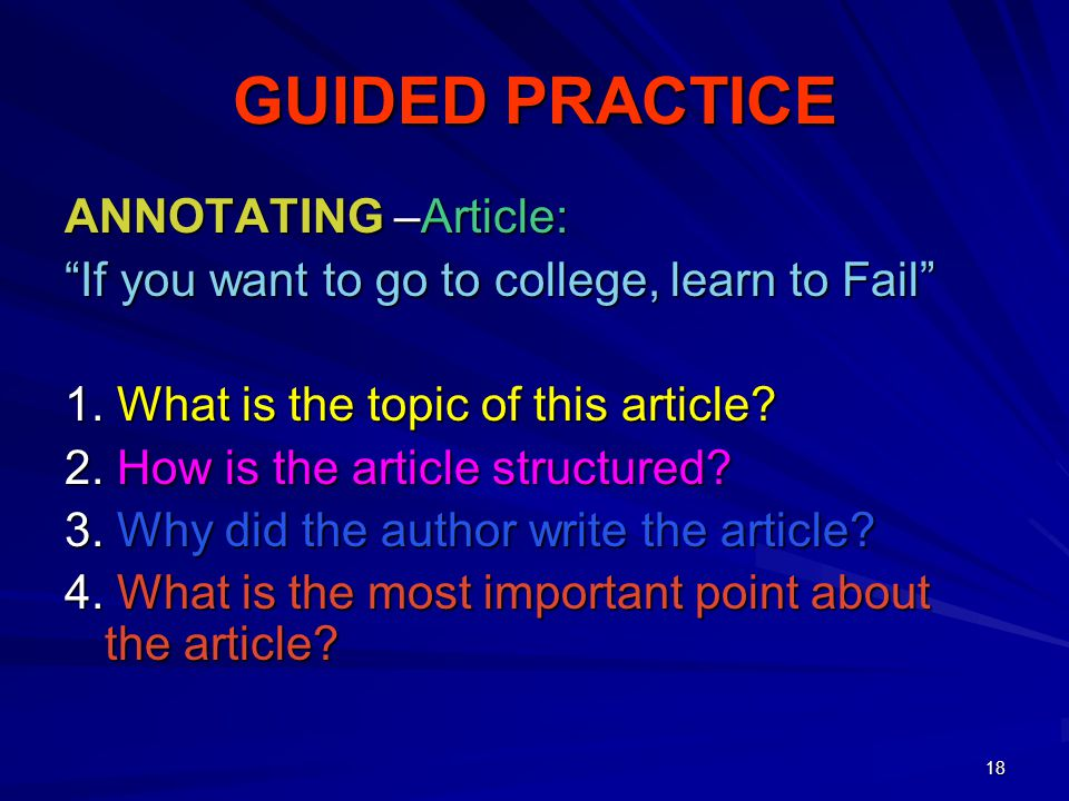 GUIDED PRACTICE ANNOTATING –Article: