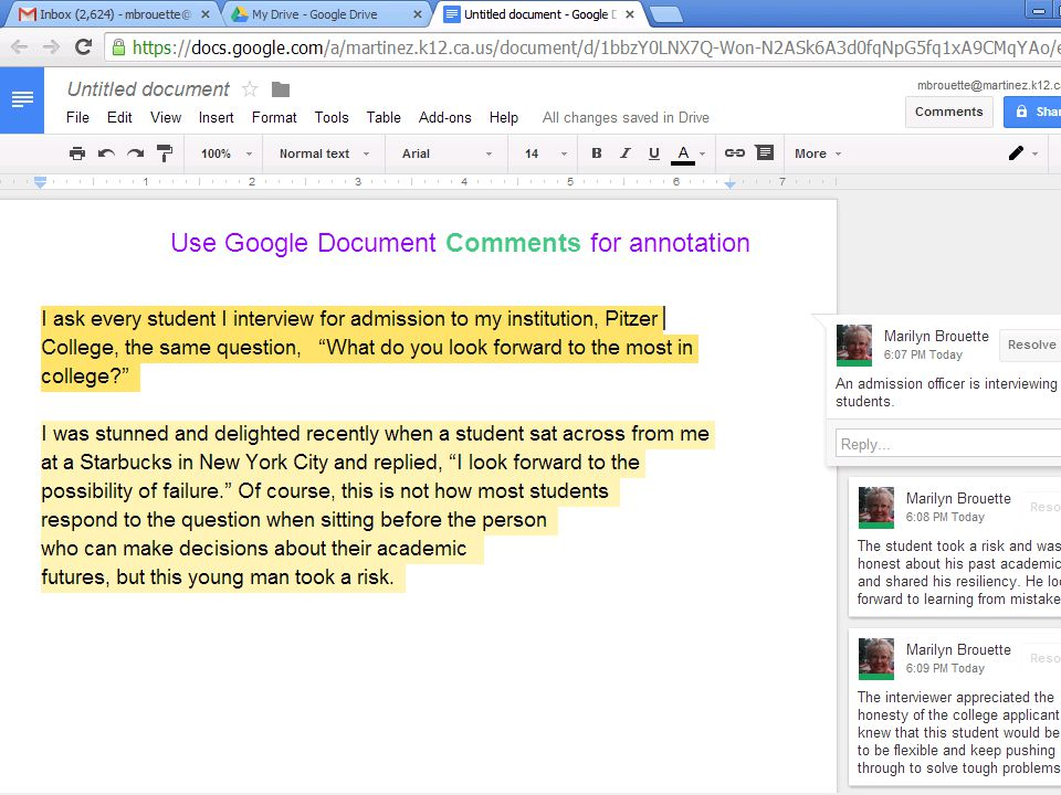Use Google Comments for annotation