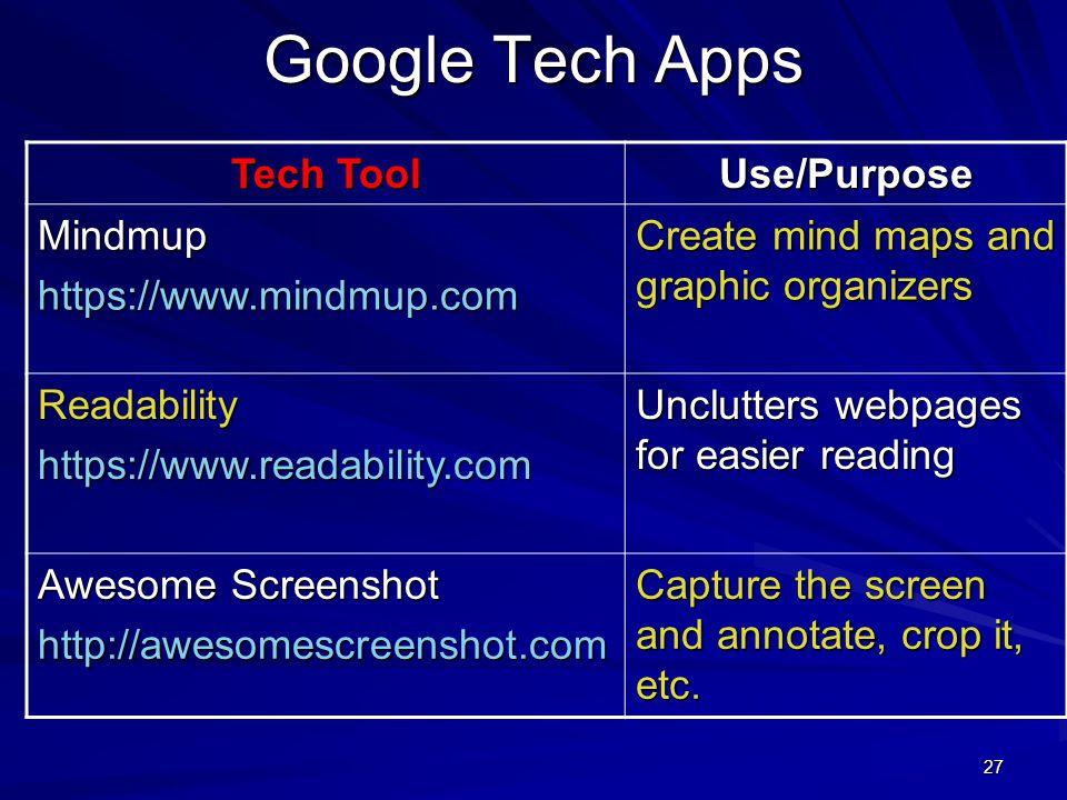 Google Tech Apps Tech Tool Use/Purpose Mindmup https://www.mindmup.com
