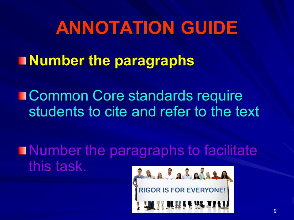 ANNOTATION GUIDE Number the paragraphs