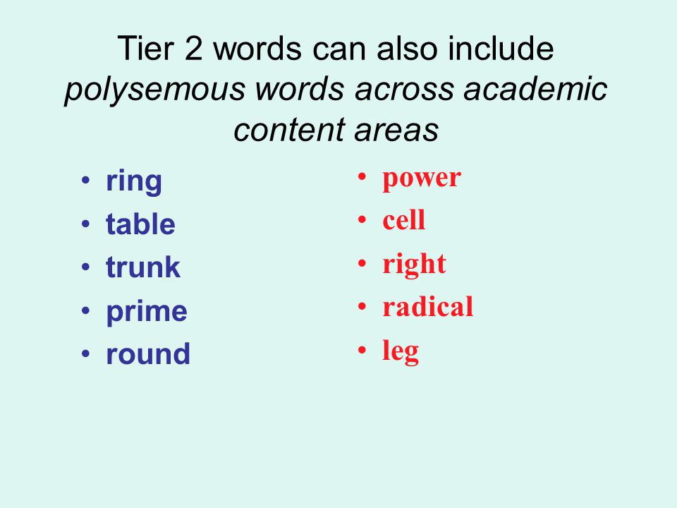 Tier 2 words can also include polysemous words across academic content areas