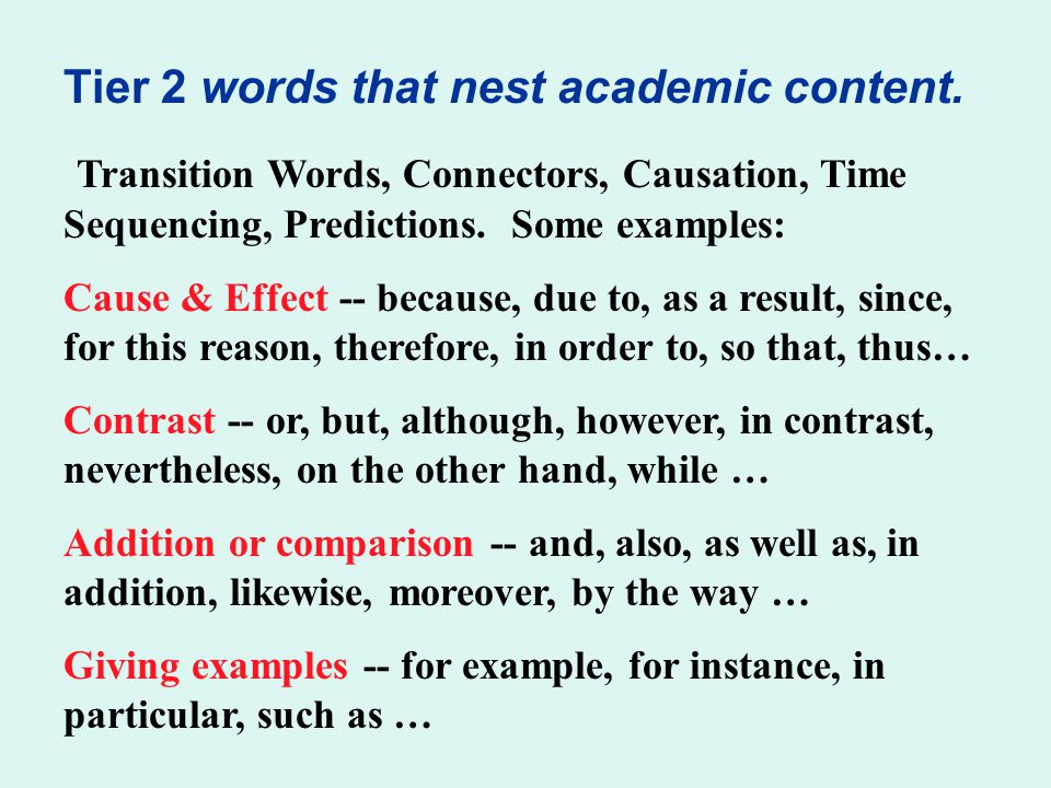 Tier 2 words that nest academic content.
