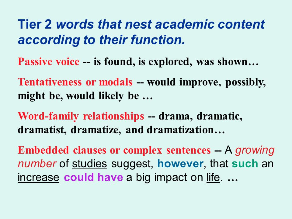 Tier 2 words that nest academic content according to their function.