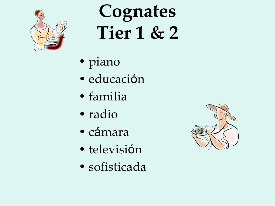 Cognates Tier 1 & 2 piano educación familia radio cámara televisión