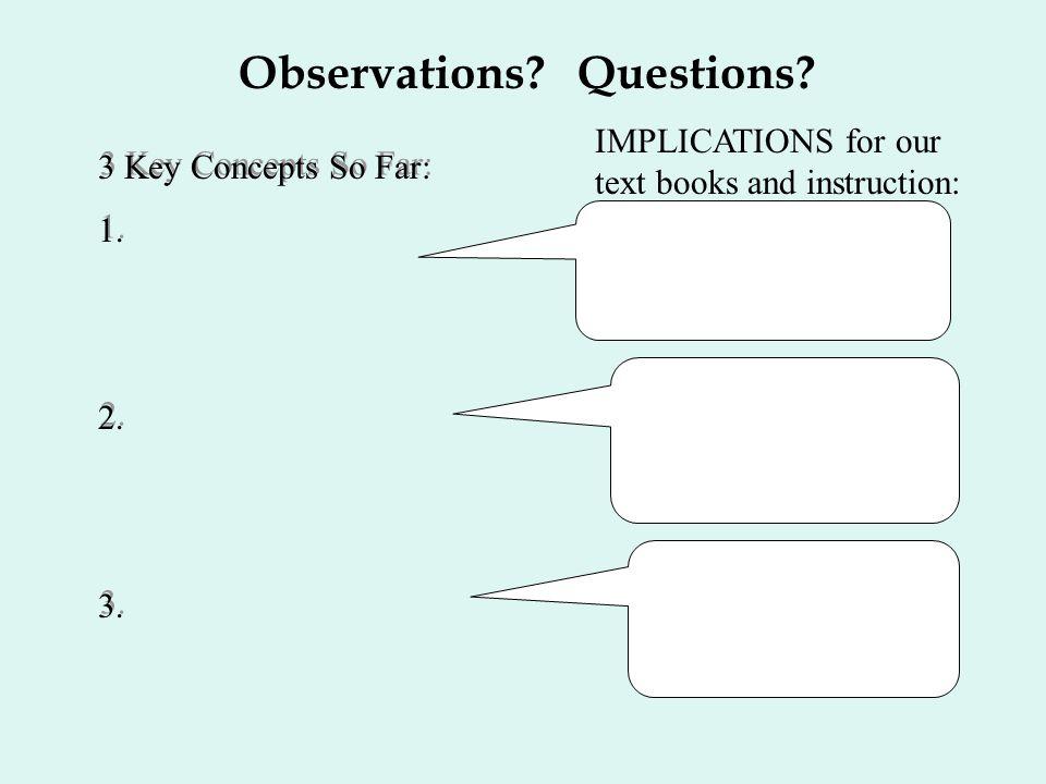 Observations Questions