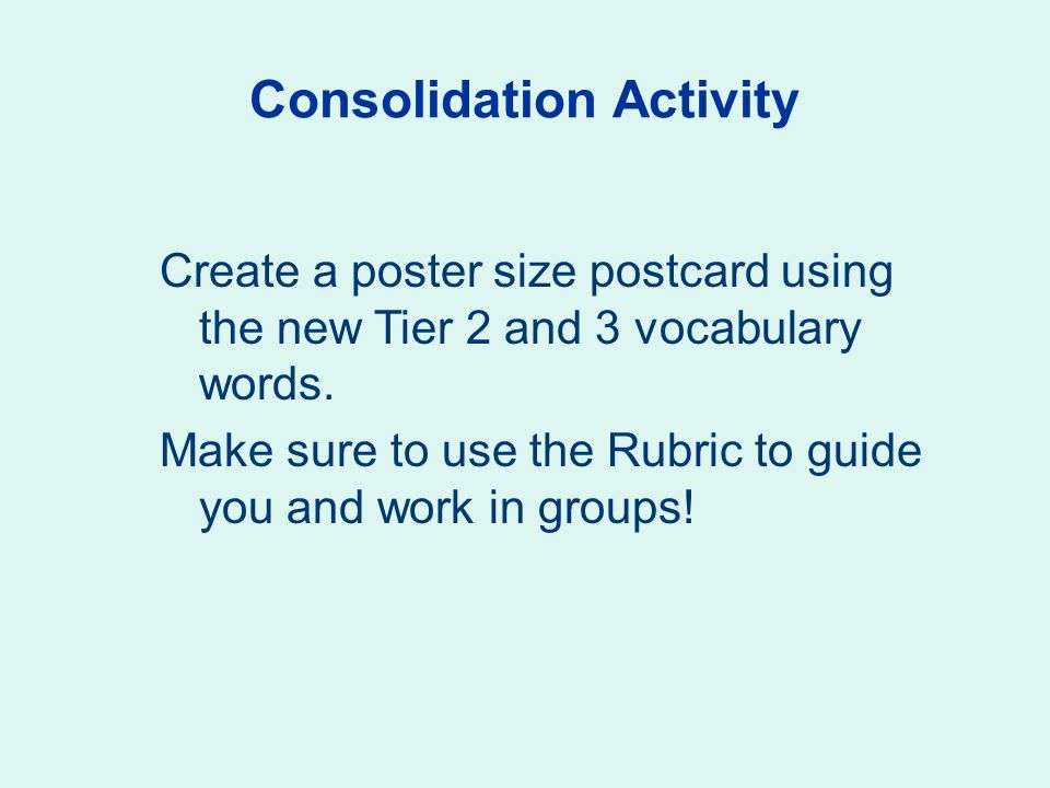 Consolidation Activity