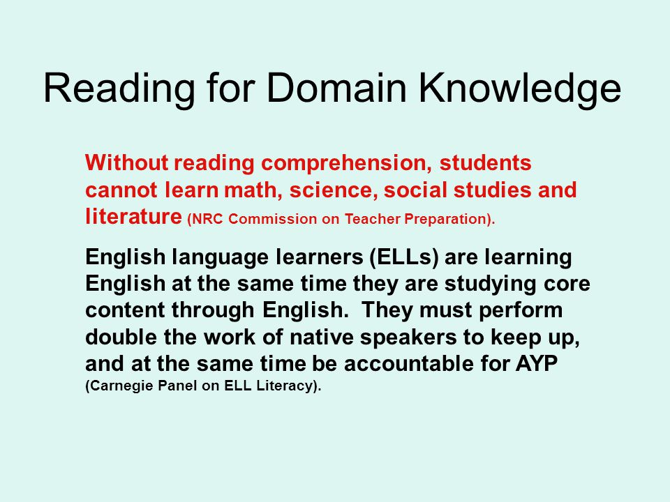 Reading for Domain Knowledge