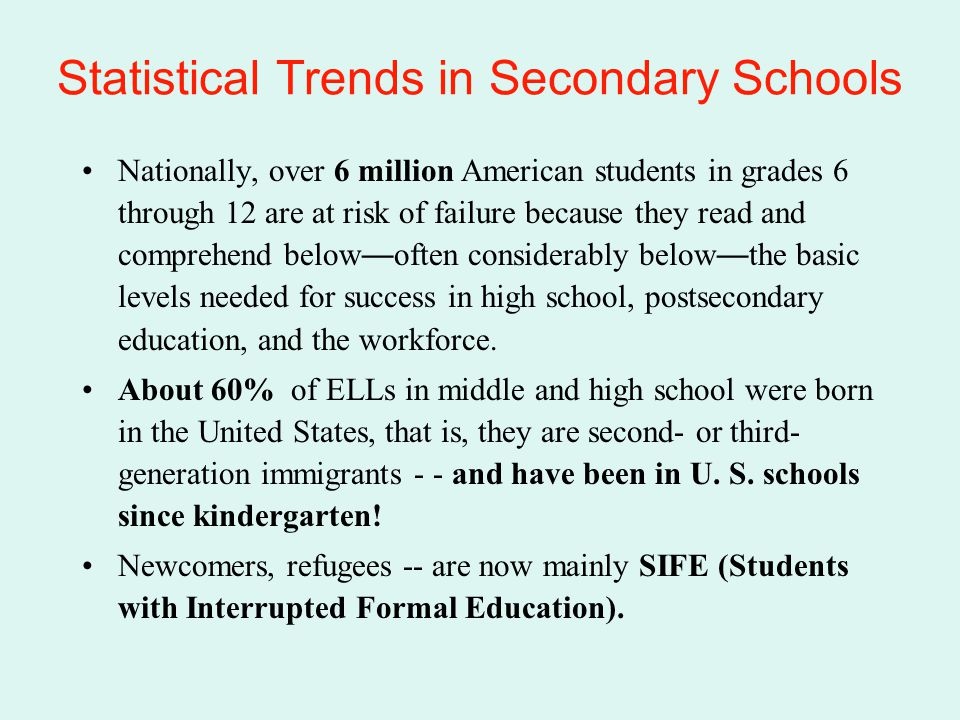Statistical Trends in Secondary Schools