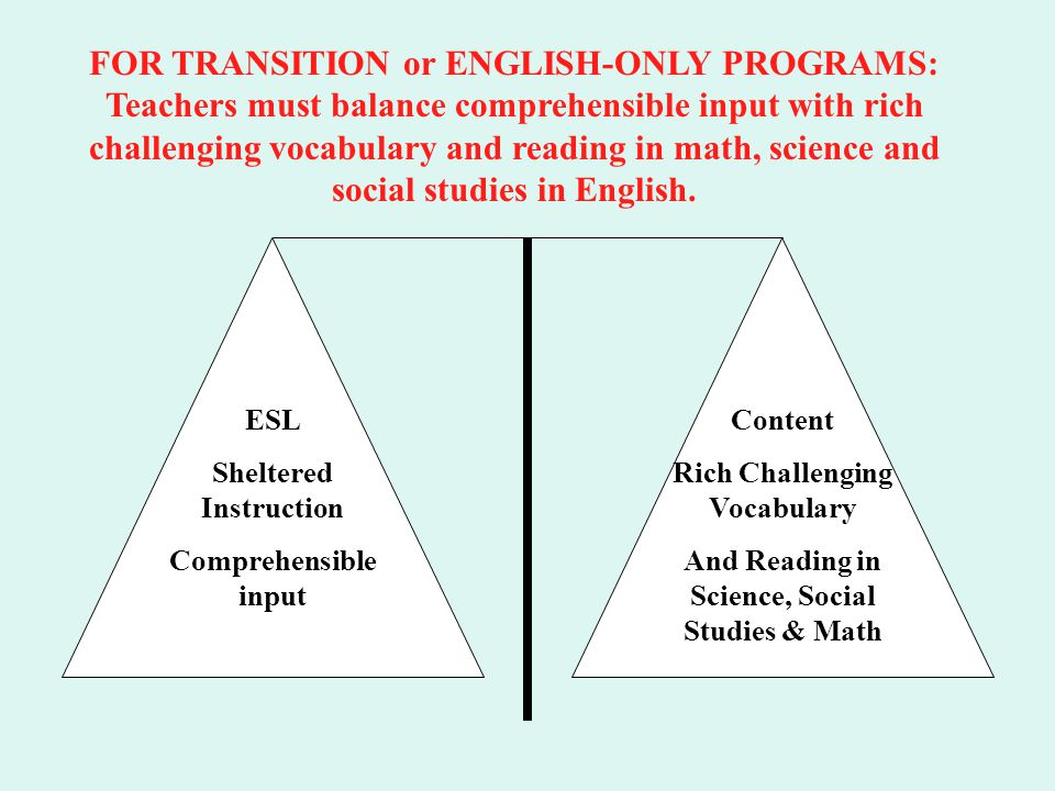 FOR TRANSITION or ENGLISH-ONLY PROGRAMS: Teachers must balance comprehensible input with rich challenging vocabulary and reading in math, science and social studies in English.