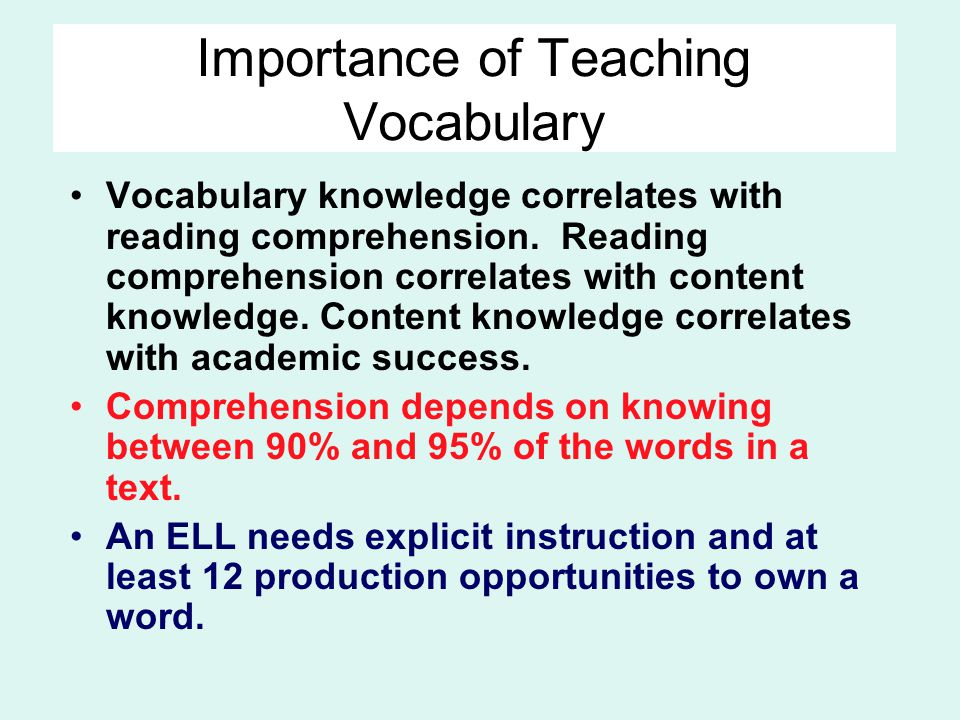 Importance of Teaching Vocabulary