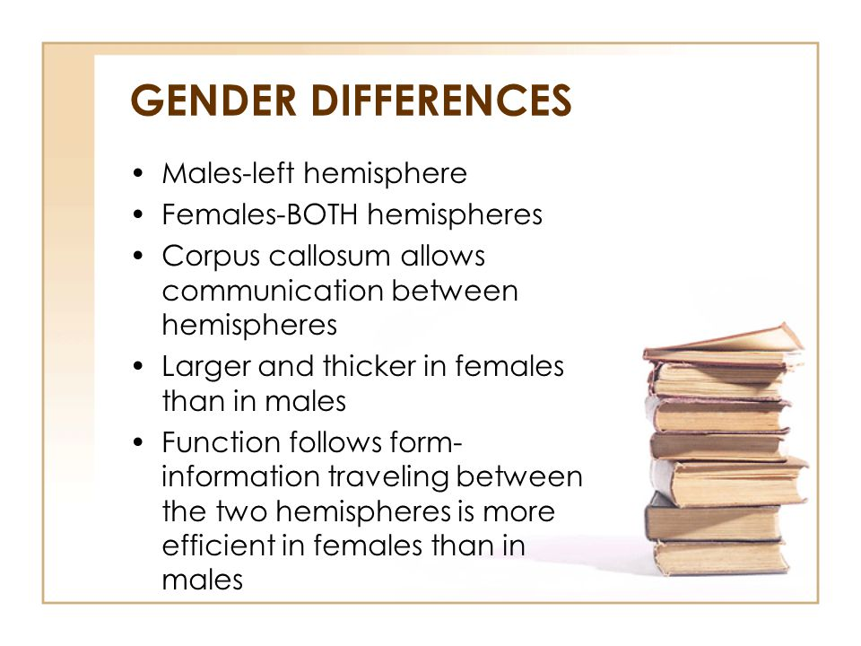 GENDER DIFFERENCES Males-left hemisphere Females-BOTH hemispheres