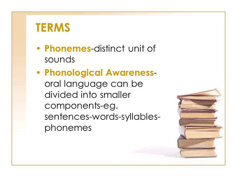 TERMS Phonemes-distinct unit of sounds