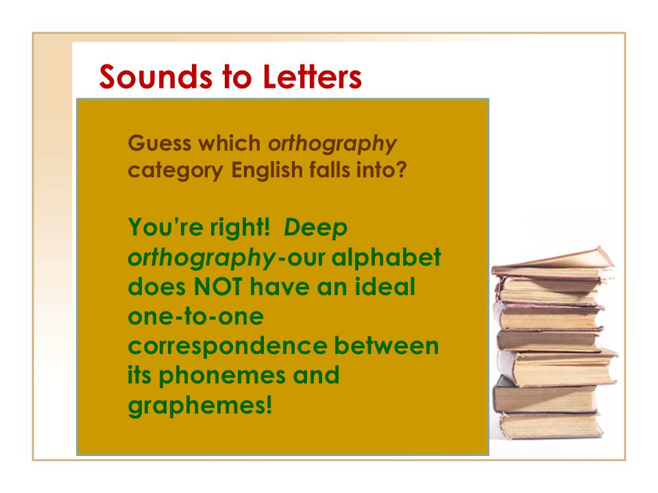 Sounds to Letters Guess which orthography category English falls into