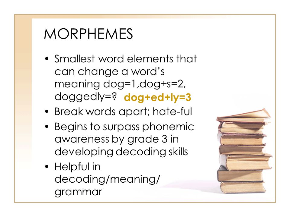 MORPHEMES Smallest word elements that can change a word's meaning dog=1,dog+s=2, doggedly= Break words apart; hate-ful.