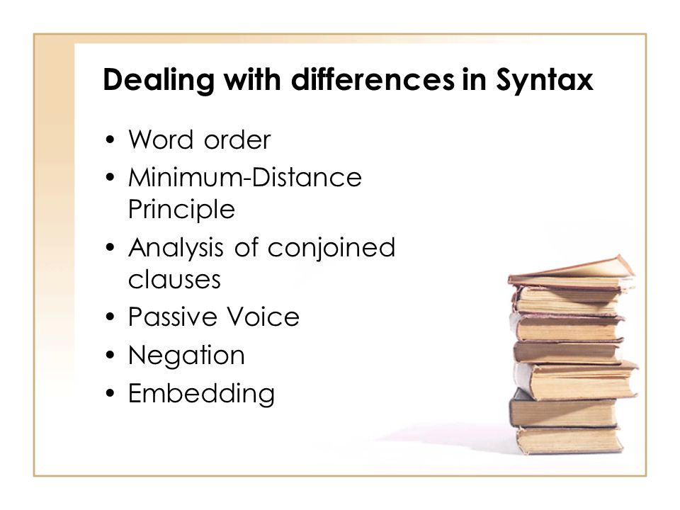Dealing with differences in Syntax