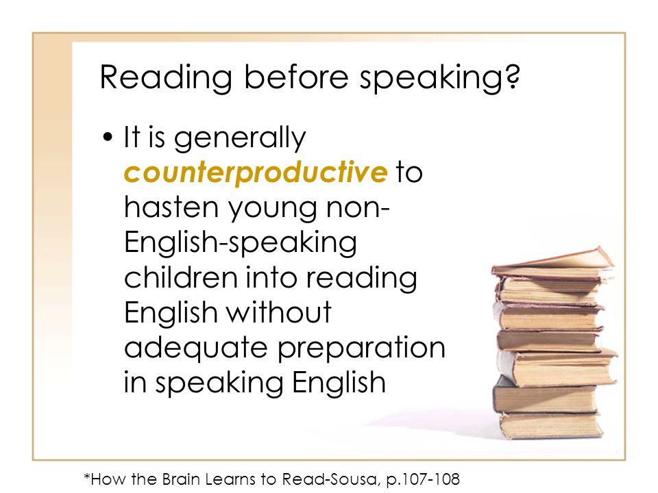 Reading before speaking