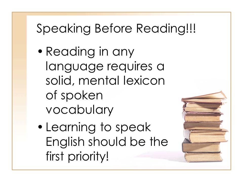 Speaking Before Reading!!!