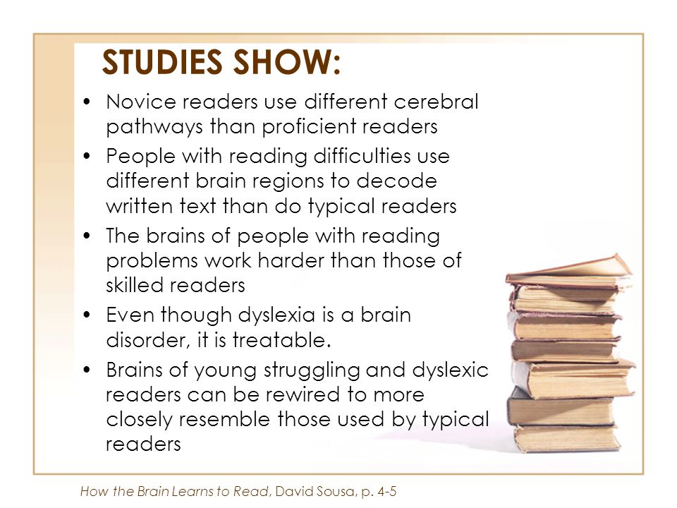 STUDIES SHOW: Novice readers use different cerebral pathways than proficient readers.