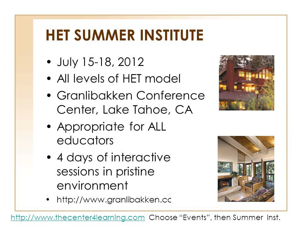 HET SUMMER INSTITUTE July 15-18, 2012 All levels of HET model