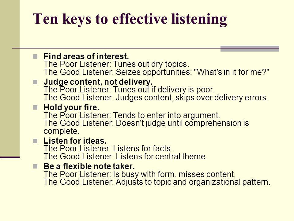Ten keys to effective listening