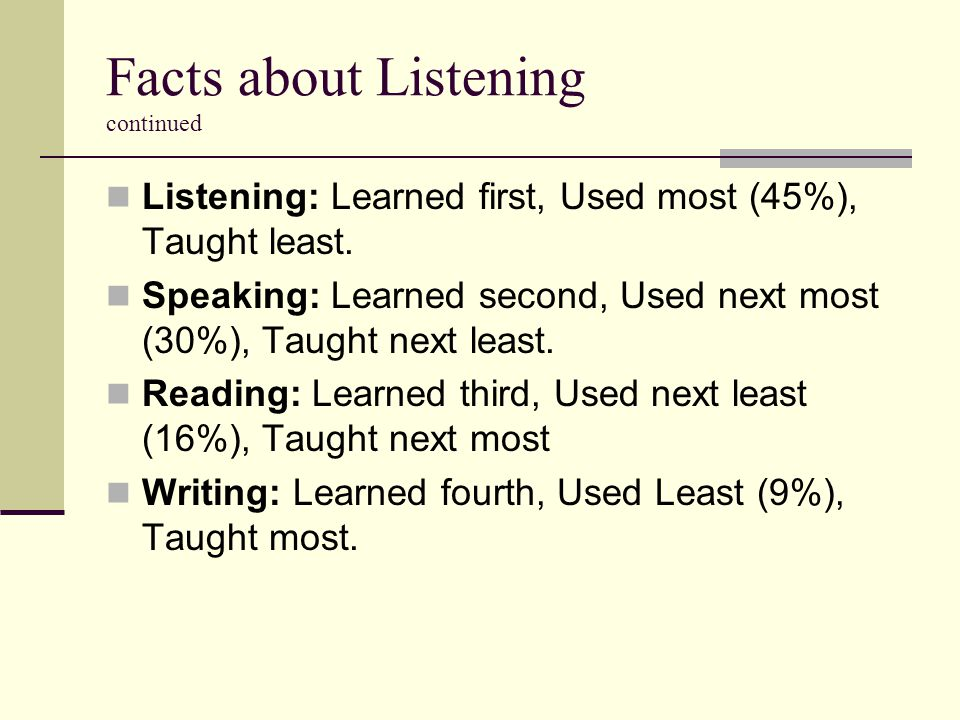 Facts about Listening continued